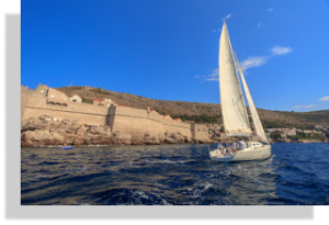 Sailing in front of Old Town on private sailboat